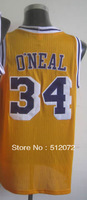 #34 Shaquille O'Neal Men's Authentic Home Yellow Throwback Basketball Jersey