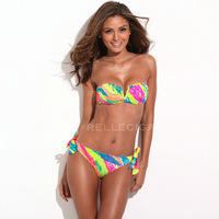 2014 New Arrivals! RELLECIGA Full-Lined Bright Colored Palm Pattern Bandeau Bikini Setwith a Sexy Open  Wire at Center Front