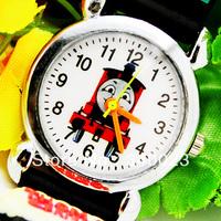 Hot sale! 1pc Black Nice Classic Thomas and Friends 3D Children Kids's Cartoon Watch Christmas Gift , C10-BK