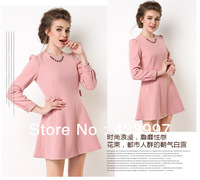 Free shipping 2014 Spring new Ladies fashion flat-fell seam long long sleeve dress in the three-dimensional cutting pure color
