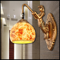 3D mermaid lamp holder wall lamp night light outdoor/indoor wall sconce lamp personalized bedroom bedside recessed lighting