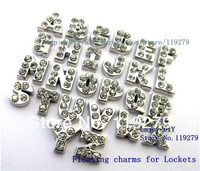 Free shipping 130pcs full rhinestones  floating charms letters fit for lockets