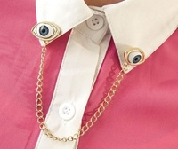 Min.order is $15 (mix order)-European And American Pop Punk Angel Devil Eyes Collar Chain Collar Pin Brooch-Y065