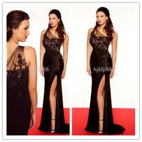 RP0253 Elegant  A-line One Shoulder Scalloped Black Lace Crystals Sequins Beading Satin Floor Length Natural Prom Dress 2014
