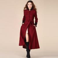 Spring autumn winter woman vintage elegant slim lace x-long wool blends coat oversize maxi coat ankle length coat  S-XXL