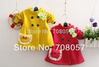 Retail  2014 winter Sping new  children outwear lace bow flower fleece  baby girls jacket coat  in stock