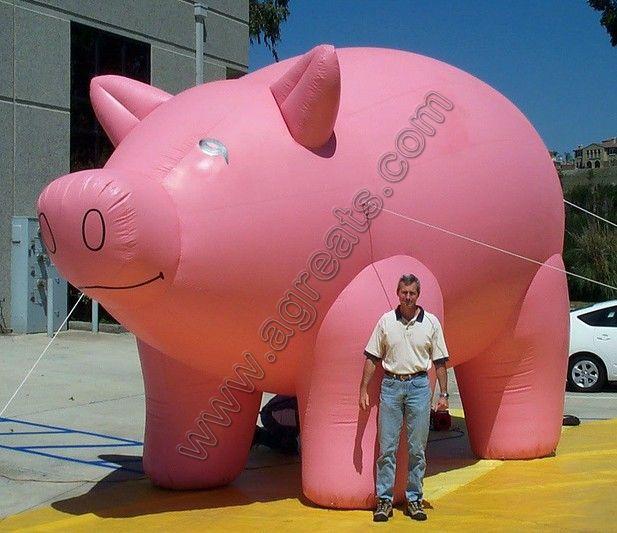 Custom design big inflatable pig air balloon, cheap inflatable pig rooftop balloon with LED(China (Mainland))