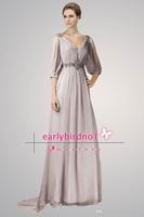 RP0256 Elegant  A-line  V-neck Half Sleeve Grey Crystals Sequins Beading Satin Floor Length Natural Prom Dress 2014