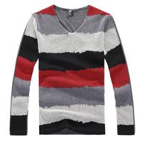 2014 Free Shipping New Fashion Men's Top Quality T shirt Long Sleeve Stitching stripe mesh shape T-Shirt M-XXL  267
