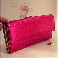 2014 New Beautiful Cute Hot Pink  Hello kitty   Pu Zipper Women Girl Lady Wallet  Purse Size(18.0cm*9.0cm)