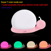 2014 New gift Color changeable Snail LED Night Light For children LED rechargeable baby light  Free Shipping
