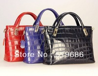 Wholesale New Fashion High Quality Embossed Genuine leather Cowhide Women handbag Color Blue Black  Red