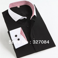 2015 Fashion Business Casual Dress Shirts For Men Black Button down Long Sleeve Good taste Slim Fit 100% Cotton Top Quality