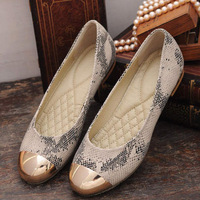 women flats women's shoes 2014 spring new fashion casual ballet flat shoes snake printed metal patchwork toe free shipping J3033