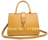2014 New Brand Arrive Cowskin leather embossed women Handbags with Straps Color Yellow