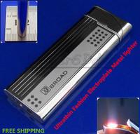 Free Shipping Ultrathin Lighter Sales Latest Plating Fashion Lighter Electroplate Metal Flint Flame Smoking Butane Gas Lighter