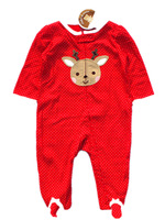 Brand Carter's Original Baby Girl's red cotton retail dot cute christmas deer bebe footed pajama for bebe sleep wear & play