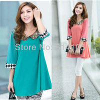 New 2014 Spring Brand Big Size Women Clothes Blouses and Shirt 4xl Appliques Embroidery High Quality Ladies Blouse