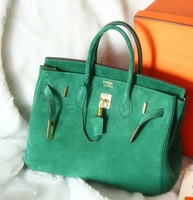 TOP-quality  SUEDE 30 cm (1:1) Classic French style Women's Genuine leather Handbags GOLD Hardware LIMITED Edition