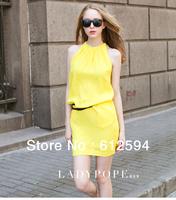 2014 women/OL candy color sleeveless Halter Spaghetti Strap chiffon dress female luxury ruffled party club street office dress