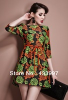 Free shipping 2014 NEW style Ms. Noble temperament of sleeve dress half sleeve  Cui flower even the garment skirt  Back zipper