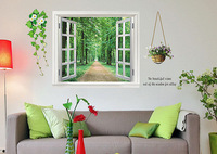 Details about 90*60cm 3D Window Scenery Flower Wall Sticker Decor Decals Removable WS