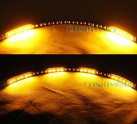 "2Pcs 30CM 12"" 32LEDs SMD 1210 Black Body Knight Rider SMD LED Scanner Strobe Flash Strip Light Amber Yellow"