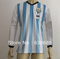New arrival 2014 argentina blue best quality player version long sleeve soccer football jersey,argentina National team jersey