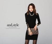 Autumn and winter thickening women's slim basic turtleneck long-sleeve shirt slim hip long design sweater slim hip  sweater
