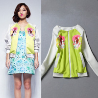 2014 star style cartoon double faced print lovely women jacket 2colors S,M Free shipping