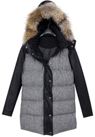 2014 Spring/Winter New Stylish Fashion Hot Sale Designer Women's Causal Black Faux Fur Hooded Parka Long Sleeve Houndstooth Coat