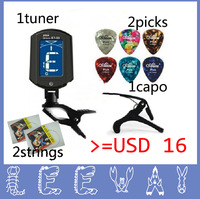 AMAZING PACKAGE=1 capo + 1st string + 2nd string +2 picks+1 ENO LCD screen Tuner for  folk acoustic guitar violin bass ukulele