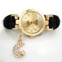Original High Quality And Free Shipping For 5 Color Women Leather Grade Antique Watches, Gold Charm Fashion Watches The Moon