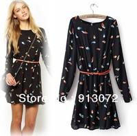 QZ737 New Fashion Ladies' Elegant colors feather print dress O neck long sleeve slim dress evening party brand design dress