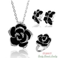 White Gold Plated Black Rose Flower Wedding Engagement Jewelry Set, Nickel Free Necklace Ring Earring with Austrian Crystal S057