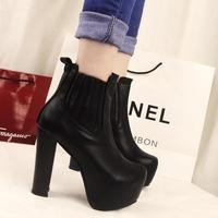 Autumn & Winter Martin Boots Women Pumps Platform Shoes Woman Ultra High Heels Thick Heel Womens Fur Ankle Boots
