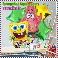5pcs/set Sponge Bob Patrick Star birthday party balloons adorable video game theme decoration Classic Foil Balloon Free Shipping
