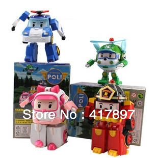 4PCS/SET 2014 New Brand Baby Toys Korean Anime Robocar poli transforming robot Toys Thomas Toys Pink And Green Gift For Kids(China (Mainland))
