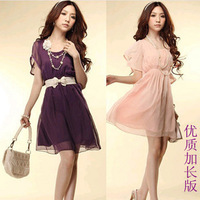 2014 summer Korean retro chiffon flounced skirt waist was thin short-sleeved dress real shot Women's Clothing Dresses
