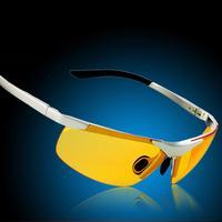 2014 New Genuine Fashion Yellow Polarized Driving at night Cycle Eye Block the sun Men Glasses Brand Women Sunglasses