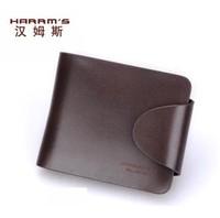Harrms male wallet male short design genuine leather wallet horizontal men's cowhide purse clip