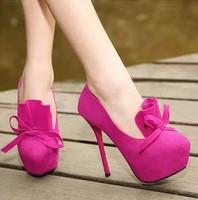 Fashion Sweet Women Pumps Ultra High Heels Platform Shoes Butterfly-knot Design Round Toe Shoes Woman
