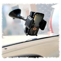 Leather rotating suction cup car mobile phone holder / navigator frame free shippiing