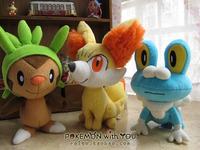 """7"""" - 9.5"""" Anime New  Pokemon XY series plush doll and toys 3 pcs one set  Chespin Fennekin Froakie"""