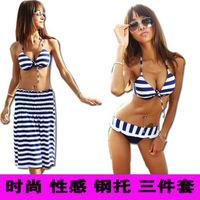 beach wear2012 new style navy striped three-piece steel Toby Gini swimsuit swimwear Springssexy bikini