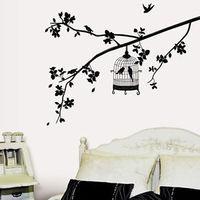 Details about Black Birdcage Birds Tree Removable Wall Sticker Home Decor Decals Vinyl Art