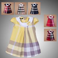 6color Brand girls clothing sleeveless cotton dress child white plaid dresses girls party clothing princess dress Spring,autumn