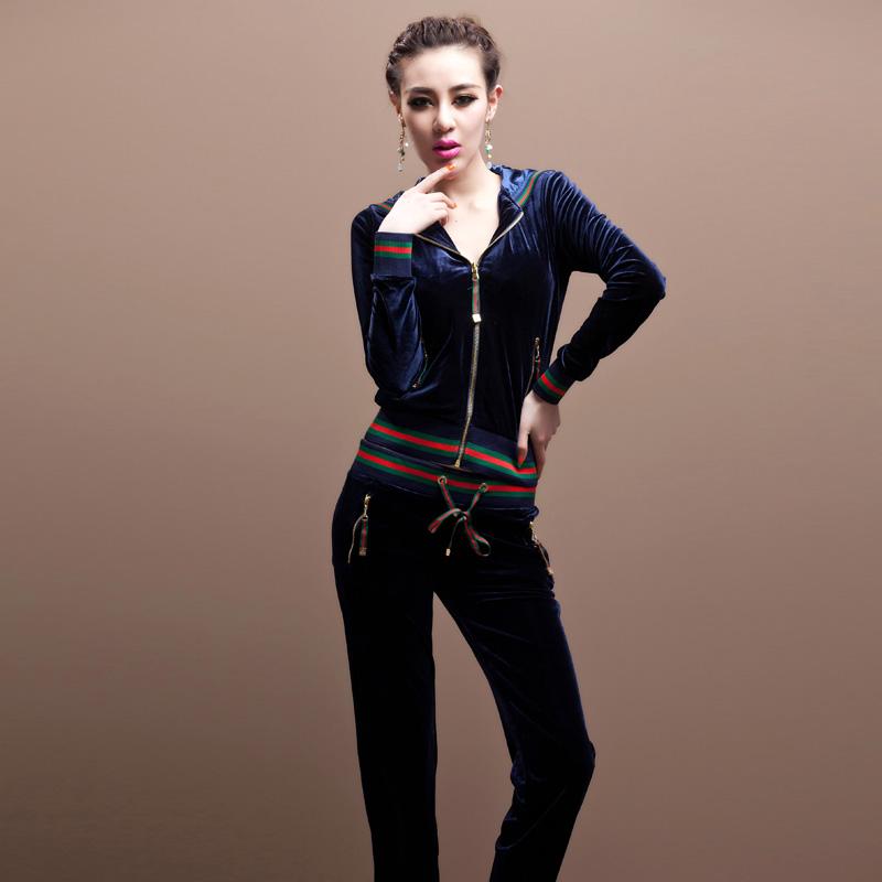 2014 new women Slim gold velvet leisure suit jacket pants new fashion Spring(China (Mainland))