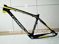 Free EMS Shipping VEETOKA TEAM2 Full Carbon Fiber MTB Frame/3K Glossy Finish/17inch/For 26er Wheels/Black&Yellow/1230g/bike part