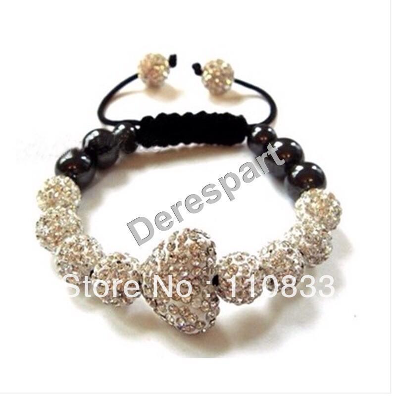 5Pcs Free Shipping Fashion Shamballa Bracelet Handmade Jewelry Making Crystal Disco Ball Beads Friendship Style White DES08(China (Mainland))